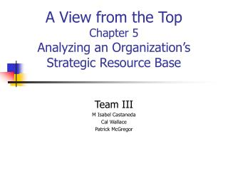 A View from the Top Chapter 5 Analyzing an Organization's Strategic Resource Base