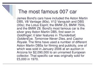 The most famous 007 car