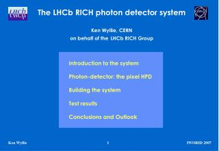 The LHCb RICH photon detector system Ken Wyllie, CERN on behalf of the LHCb RICH Group