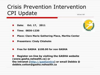 Crisis Prevention Intervention CPI Update 				 SE-2011-097