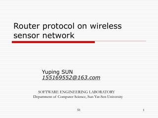 Router protocol on wireless sensor network