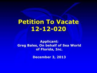 Petition To Vacate  12-12-020