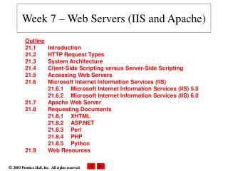 Week 7 – Web Servers (IIS and Apache)