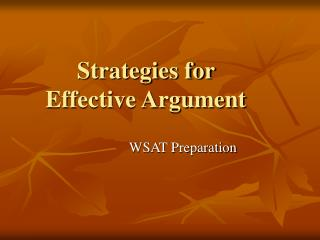 Strategies for  Effective Argument