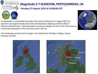 Magnitude 2.7 GLENLYON, PERTH/KINROSS, UK
