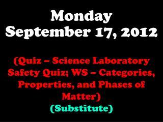 Monday September 17, 2012