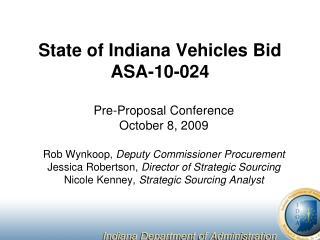 State of Indiana Vehicles Bid ASA-10-024