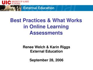 Best Practices & What Works in Online Learning Assessments