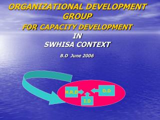 ORGANIZATIONAL DEVELOPMENT GROUP FOR CAPACITY DEVELOPMENT   IN  SWHISA CONTEXT B.D  June 2006