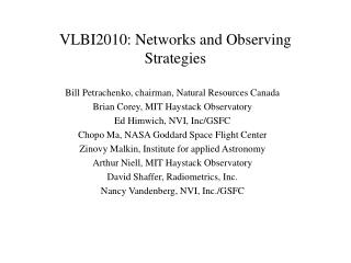 VLBI2010: Networks and Observing Strategies