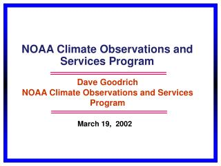 NOAA Climate Observations and Services Program