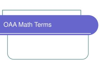 OAA Math Terms
