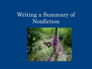 Writing a Summary of Nonfiction