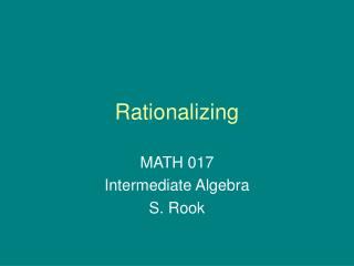 Rationalizing