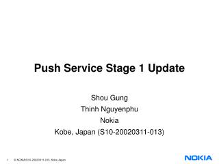 Push Service Stage 1 Update