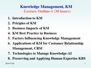 Knowledge Management, KM - Lecture Outline-1 (30 hours)