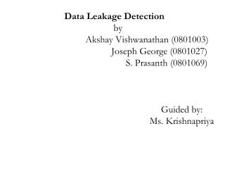 Data Leakage Detection-Introduction