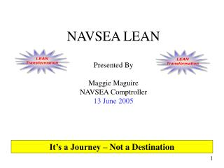 NAVSEA LEAN   Presented By Maggie Maguire NAVSEA Comptroller 13 June 2005