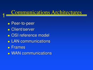 Communications Architectures