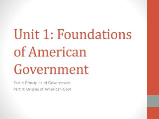 Unit 1: Foundations of American Government