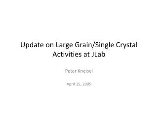 Update on Large  Grain/Single  Crystal Activities at  JLab