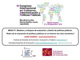 MESA P1: Modelos y enfoques de evaluación y diseño de políticas públicas.