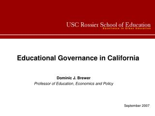 Educational Governance in California