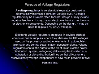 Purpose of Voltage Regulators