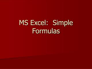 MS Excel:  Simple Formulas
