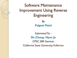 Software Maintenance Improvement Using Reverse Engineering