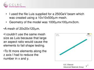 I used the file Luis supplied for a 250GeV beam which was created using a 10x10x500 m m mesh.