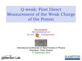 Q-weak: First Direct Measurement of the Weak Charge of the Proton