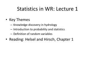 Statistics in WR: Lecture 1