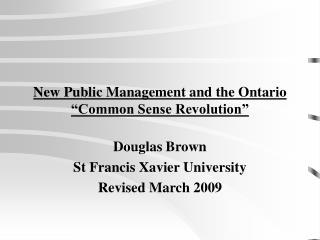 "New Public Management and the Ontario ""Common Sense Revolution"""