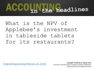 What  is the NPV of Applebee's investment in tableside tablets for its restaurants?