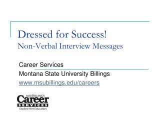 Dressed for Success Non-Verbal Interview Messages