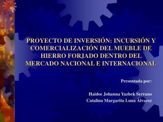 PROYECTO DE INVERSI N: INCURSI N Y COMERCIALIZACI N DEL MUEBLE DE HIERRO FORJADO DENTRO DEL MERCADO NACIONAL E INTERNACI