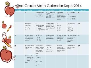 2nd Grade Math Calendar Sept. 2014