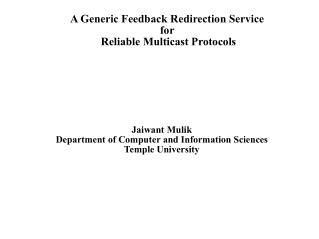 A Generic Feedback Redirection Service for  Reliable Multicast Protocols