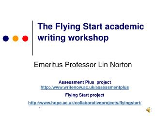 The Flying Start academic writing workshop