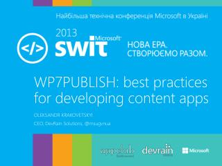 WP7PUBLISH: best practices for developing content  apps