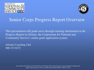 Senior Corps Progress Report Overview