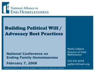 Building Political Will / Advocacy Best Practices