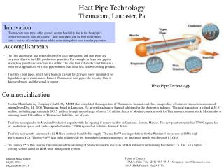 Heat Pipe Technology Thermacore,  Lancaster, Pa