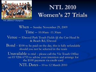 NTL 2010 Women's 27 Trials