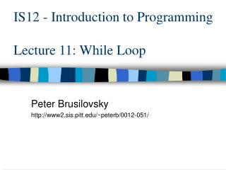 IS12 - Introduction to Programming Lecture 11: While Loop