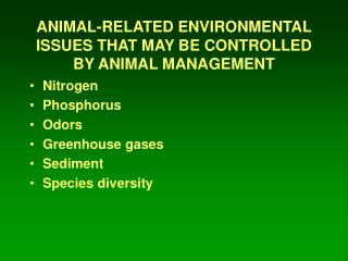 ANIMAL-RELATED ENVIRONMENTAL ISSUES THAT MAY BE CONTROLLED BY ANIMAL MANAGEMENT
