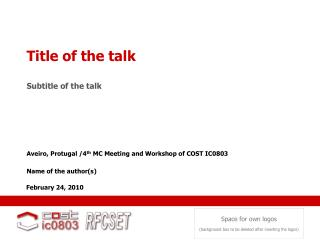 Title of the talk