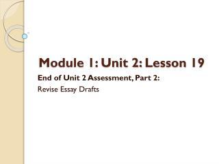 Module 1: Unit 2:  Lesson  19