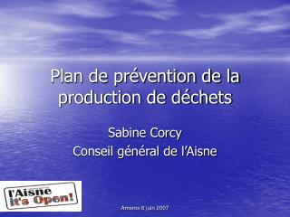 Plan de pr vention de la production de d chets